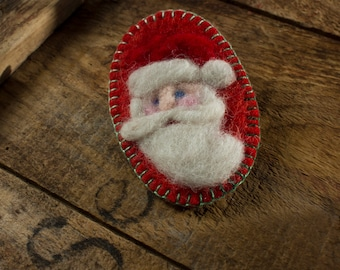 Christmas Series: Santa Claus - Needle Felted Wool St Nick on Red
