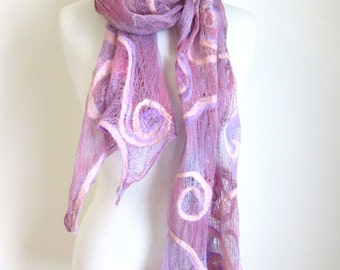 Large Pink Cotton Wrap - Pink Lavender - Nuno Felted Scarves