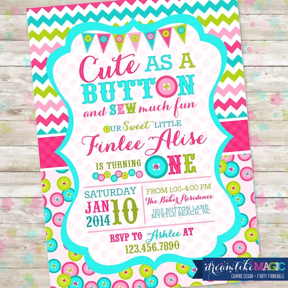 Cute as a Button Birthday Invitation Printable Invite Cute