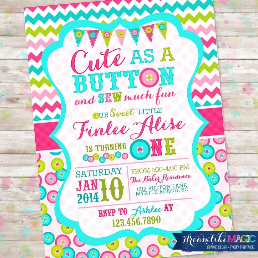 Cute as a Button Birthday Invitation Printable Invite Cute
