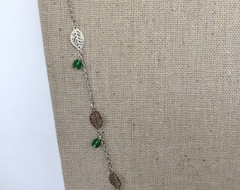 Leaf chain necklace with green Czech glass accent beads