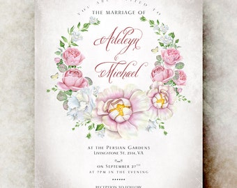 Floral wedding invitation printable - wedding invitation template, wedding invitation set, rustic wedding invitation, save the date