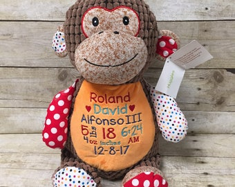 Monkey Birth Stat Stuffed Animal, Personalized stuffed animal, Personalized Baby gift, Baby keepsake, Embroidered Monkey stuffed animal