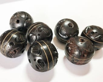 Large Round Carved Wood Beads, Wood Focal Bead, Natural Wood Beads, Ebony Wood with Brass Inlay 22mm-1pc