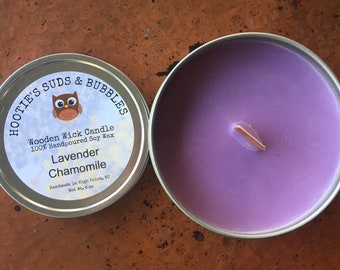 Wood Wick Soy Wax Candle - Lavender Chamomile