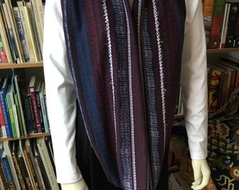 Extra Long Sweater Knit Look Navy & Burgundy Infinity, Loop, Circle scarf