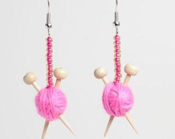 Pink Wool and Knitting Needle Earrings - Miniature Ball of Yarn