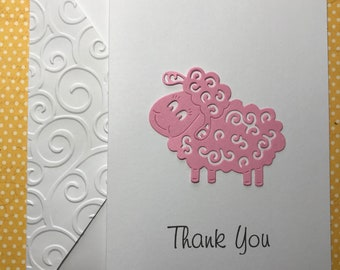 Baby Shower Thank You Cards, Customized Sheep Any Color, Handmade Sheep Card, Lamb Card, Stationery, Blank Note Cards and Envelopes