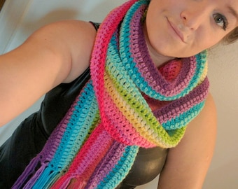 Rainbow Scarf with Fringe