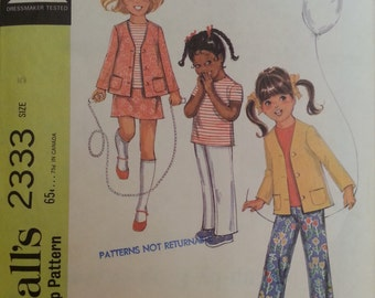 McCall's #2333 - Child's Separates - Size 5, Bust 24 - 1970 - Vintage - Sewing Pattern