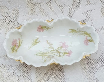 Haviland Bowl Oval Pink Carnations