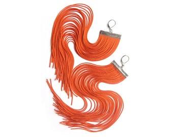 Halloween Pumpkin Long Fringe Earrings.Orange Shoulder Dusters.Carrot Orange Chandelier.Ginger Red Dangles.Goldfish Drop Earrings.Papaya