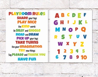 Playroom Rules and ABC Sign Bundle. Rainbow Playroom Wall Decor. Playroom Rules and Alphabet Printable. *INSTANT DOWNLOAD*