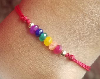 Gay Pride Bracelet, LGBT Bracelet, Pride Bracelet, Lesbian Bracelet, LGBT Jewelry, Red String Bracelet, Protection, Kalava, Kabbalah, LGBT