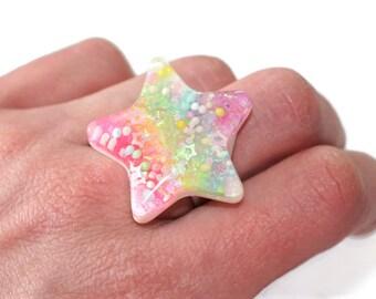 Glow in the Dark Rainbow Ring Star Pastel Goth Ring Kawaii Glow Jewelry