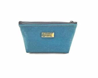 """9"""" x 5"""" - Teal Cork Gadget Bag - zipper pouch - Bag organizer"""