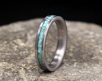 Teal Mother of Pearl Inlay Titanium Wedding Band or Ring