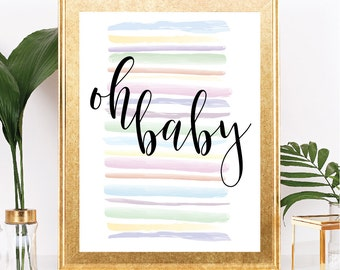 Oh Baby - Baby Shower Sign - Instant Download - Rainbow Watercolor Stripes - Printable - 8.5x11 Digital Download