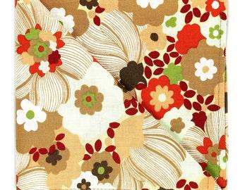 Orange brown floral pocket square, Mens beige peach flower handkerchief