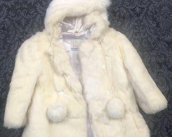 Girls rabbit fur coat