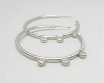 Silver Dot Hoops - Open Hoops - Hoop Earrings -  Silver Hoops - Midi Hoops - Minimalist Earrings