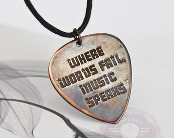 Guitar pick necklace, Where words fail music speaks, Like Engraved Guitar pick necklace, Gift for boyfriend
