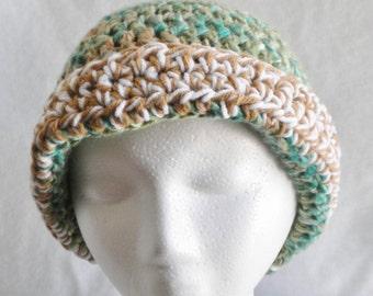 Green crochet hat with brim