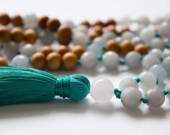 Mala Necklace - 108 Mala Beads, Yoga Beads, Yoga Mala, Gemstone Mala, Knotted Mala, Long Necklace, Mala