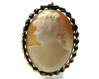 Cameo Brooch Pendant Vintage Gold Filled And Carved Shell