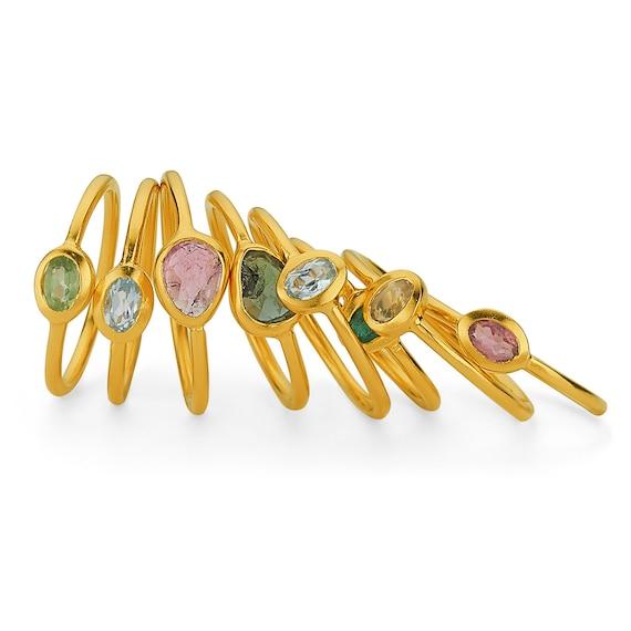 Minimalist Ring Silver, Natural Stone Ring , Gold Tourmaline Ring, Gold Peridot Ring, Citrine Ring, Blue Topaz Ring, Emerald Ring, Minimal