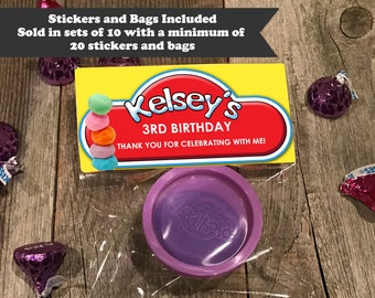 Play Dough Birthday Stickers and Bags, Birthday Treat Bags, Birthday Party Favors, Playdough Birthday Favors, Play Dough Treat Bags
