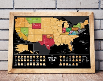 Places We've Been Map -  Scratch Off USA Map -  Printed on Flexible Plastic  - FREE SHIPPING