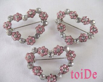 Heart Brooch with Rhinestones - 3 brooches