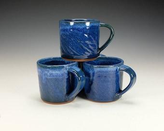 Stoneware pottery mug.  Cobalt Blue with streaked lip.  Ready to ship.