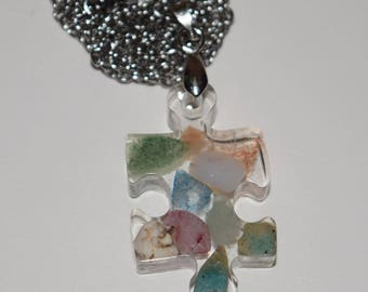 Puzzle Piece Necklace / Gemstone Resin Necklace / Autism Awareness Necklace / Puzzle Necklace