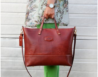Italian Leather Bag, Shoulder Bag Cognac, Designer Handbags, Tote handbags leather