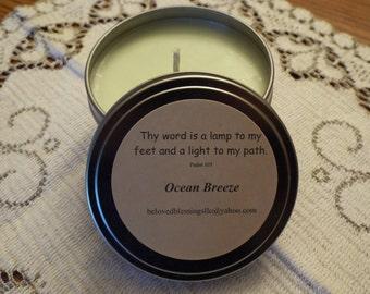Ocean Breeze 8 oz Soy Candle Tin