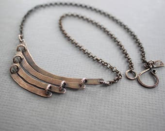 Tribal copper necklace with hammered arches, Cascade necklace, Ladder necklace, Tribal necklace, Everyday necklace - NK071