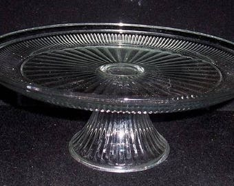 "Vintage CLEAR 12"" Ribbed Pressed Glass PEDESTAL Cake Plate Stand VGC"