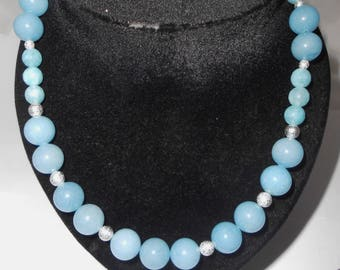 Beaded necklace with Milky aquamarine, and 925 sterling silver beads