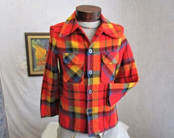 50s S Robin Jackshirt Lumberjack Hunting Jacket Red Plaid Wool