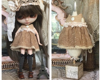 Blythe doll dress and hat vintage style handmade Blythe tattered dress and hat handmade by Olive Grove Primitives