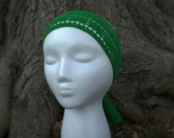 SALE! 10% off! Green crocheted tie-on headband