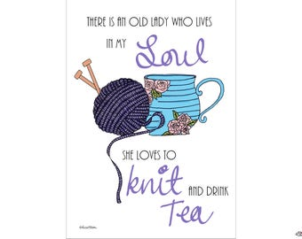 Knit and Drink Tea, Knitting Quote Print, Knitter Print, Illustrated Print, Knitting Print,Knitting Lover, Knitting Quote, Craft Room Print,