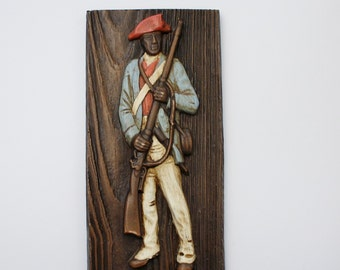 Vintage Civil War Soldier Wall Plaque - Civil War Blue Coat Union Army Soldier - Faux Wood Wall Hanging Plaque