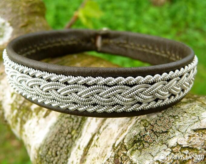 Sami Bracelet. Unisex Leather Wristband. Olive MJOLNIR Viking Cuff Bangle