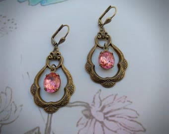 Victorian drop earrings, rose crystal glass stones, pink jewels, antiqued brass, ornate baroque shapes, vintage look, leverback fastening