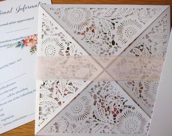 Floral Lace Wedding Invitation Wrap