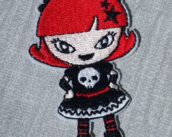 Cute Goth Girl Embroidered Patch Applique Very Gothic Emo Punk