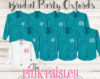 Monogram Bridesmaid Oxford Shirts | Bridal party shirts | Wedding Day Shirts | Set of 9